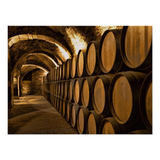 Alley of Barrels at the Winery Posters