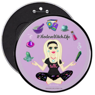 Allie Stars #ModernWitchLife Black 6 in. Button