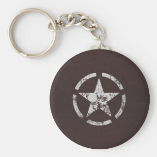 Allied US White Star Vintage Basic Round Button Key Ring