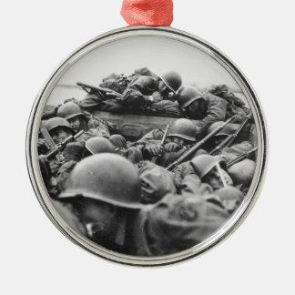Allied World War II Soldiers Crossing the Rhine Christmas Ornament