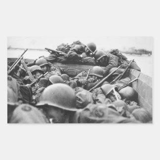 Allied World War II Soldiers Crossing the Rhine Rectangular Sticker