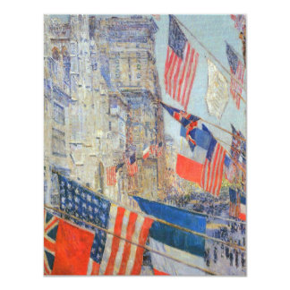 Allies Day, May 1917 by Childe Hassam, Vintage Art 11 Cm X 14 Cm Invitation Card