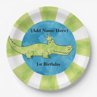 Alligator 1st Birthday Paper Plate