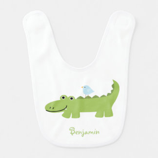 Alligator and Blue Bird Personalized Bib