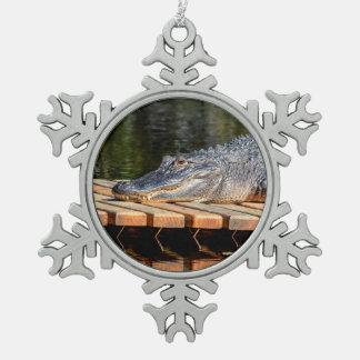 Alligator at Homosassa Springs Wildlife State Park Pewter Snowflake Decoration
