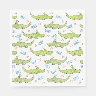 Alligator Birthday Paper Napkin, Luncheon Disposable Serviettes