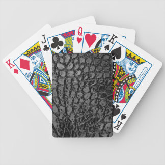 Alligator Black Faux Leather Bicycle Playing Cards