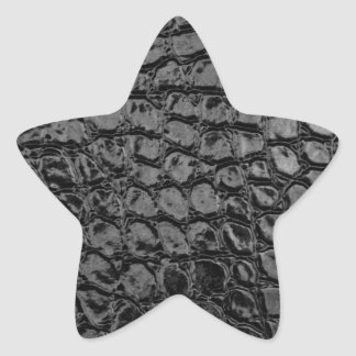 Alligator Black Faux Leather Star Sticker