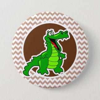 Alligator; Brown Chevron 7.5 Cm Round Badge