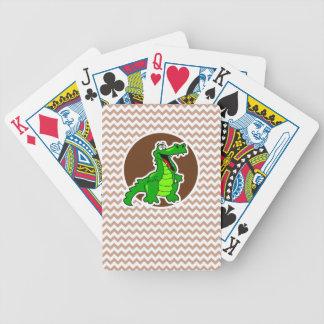 Alligator; Brown Chevron Bicycle Playing Cards
