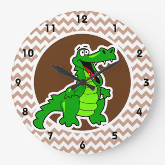 Alligator; Brown Chevron Large Clock