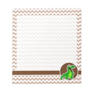Alligator; Brown Chevron Notepad