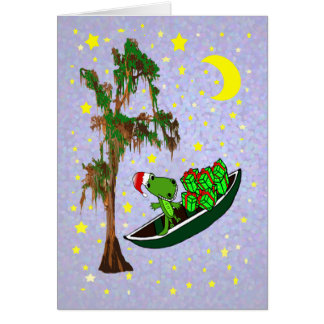 Alligator Cajun Bayou Christmas Card