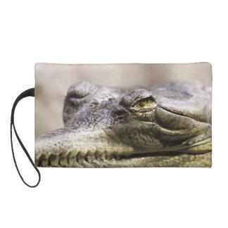 Alligator closeup photo wristlet clutch