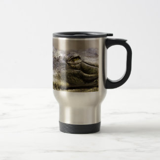 Alligator closeup photo stainless steel travel mug