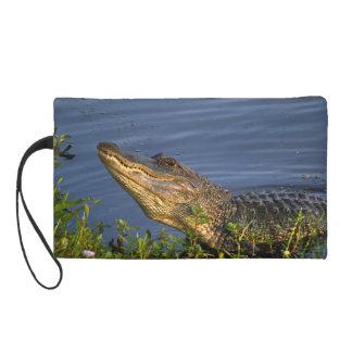 Alligator Creeping Up Wristlet Clutches