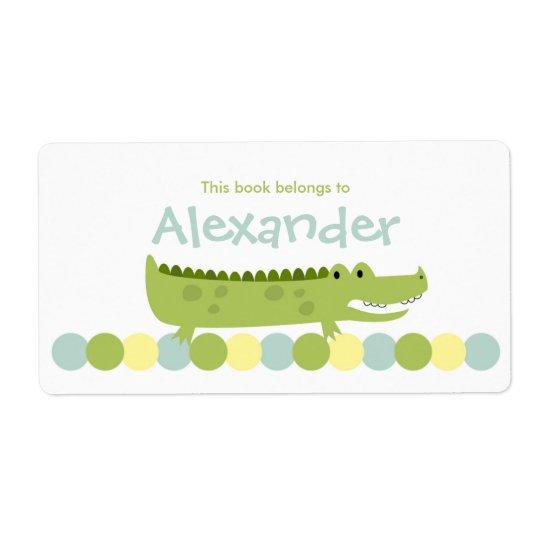 Alligator Crocodile Bookplate Label - Book Plate Shipping Label