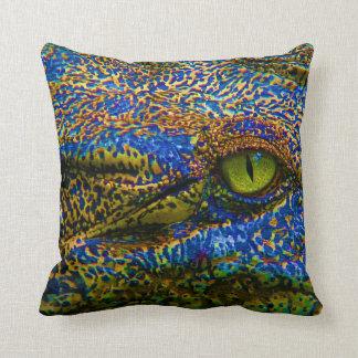 Alligator Crocodile Colorful Eye Editable! Throw Pillow