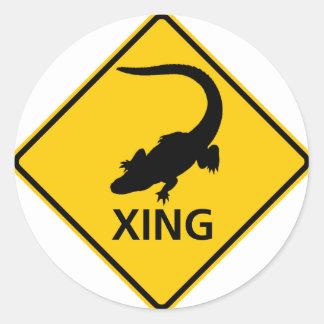 Alligator Crossing Highway Sign Classic Round Sticker