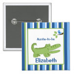 Alligator Customised name tag Button Blue/Green