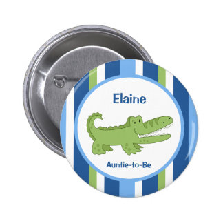 Alligator Customized name tag Button Blue/Green