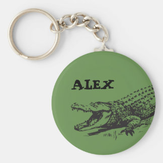 Alligator drawing with custom name key ring