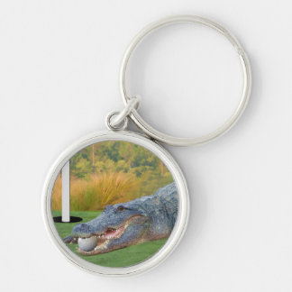 Alligator, Golf Hazardous Lie Silver-Colored Round Key Ring
