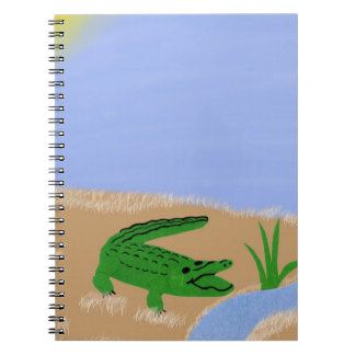 Alligator Green Whimsical Cartoon Art Notebook