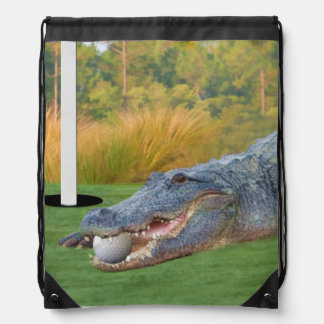 Alligator, Hazardous Lie on Golf Course Drawstring Bag