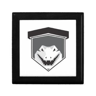 Alligator Head Shield Black and White Small Square Gift Box