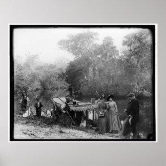 Alligator Hunting, Tomoka River, Florida 1880-1897 Poster