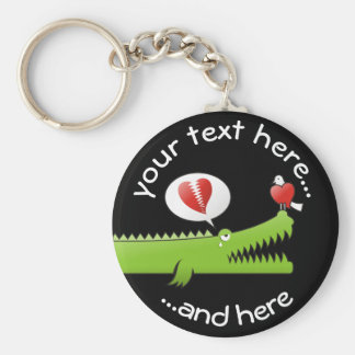 Alligator in Love Basic Round Button Key Ring
