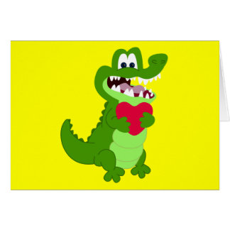 Alligator in Love Card