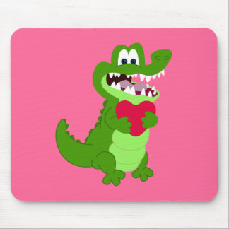 Alligator in Love Mouse Mat
