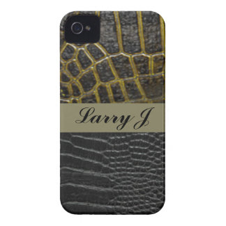 Alligator Leather Pattern Print Black Typography iPhone 4 Covers