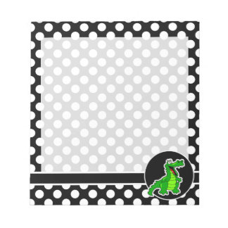Alligator on Black and White Polka Dots Notepad