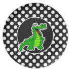 Alligator on Black and White Polka Dots Plate