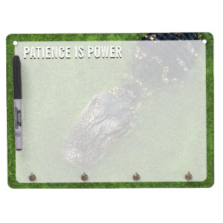 Alligator • Patience is Power • Florida Nature Dry Erase Board With Key Ring Holder