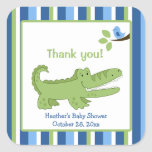 Alligator Square Favour Stickers - Blue/Green