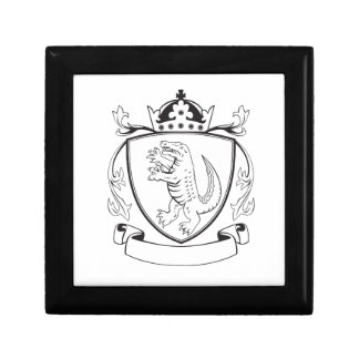 Alligator Standing Coat of Arms Black and White Small Square Gift Box