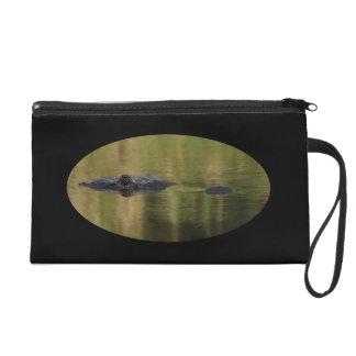 alligator surfacing wristlet purse