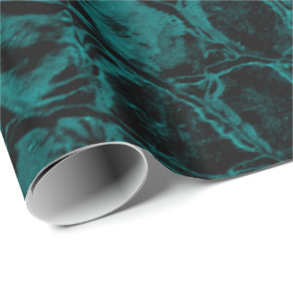 Alligator Teal Faux Leather Wrapping Paper