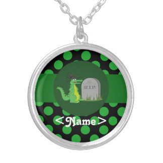 Alligator Witch with Grave Stone & Green Dots Round Pendant Necklace