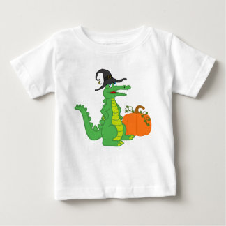 Alligator Witch with Halloween Pumpkin Baby T-Shirt