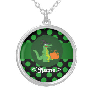 Alligator Witch with Pumpkin & Green Dots Round Pendant Necklace