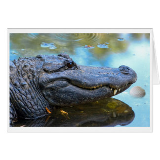 Alligator With Golfball Card