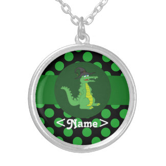 Alligator with Witch Hat & Green Dots Round Pendant Necklace