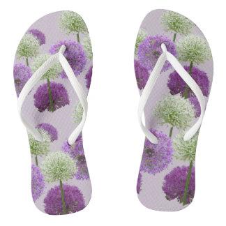 Allium White and Purple Adult Flip Flops