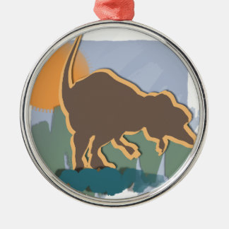 Allosaurus in Brown and Orange in Sun and Grass Christmas Ornament