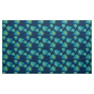 allover peacock print on fabric. fabric